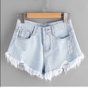 Pants - Distressed High Waist jean shorts